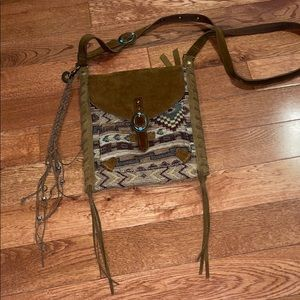 Lucky Brand Leather Aztec Crossbody Bag Turquoise